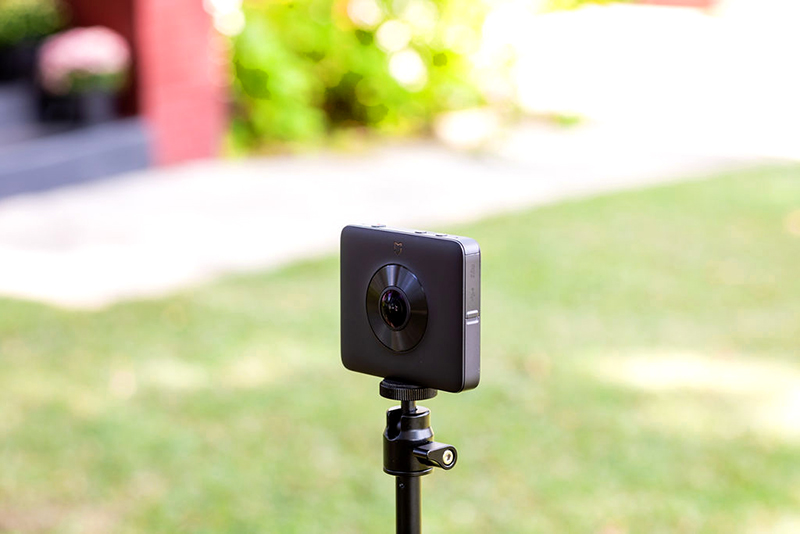 360 degree camera on a stand in front of a house for home inspection service