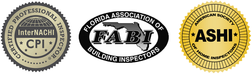 Certification Logos: InterNACHI Certified Professional Inspector (CPI), Florida Association of Building Inspectors (FABI), and ASHI Certified Inspector (ACI)