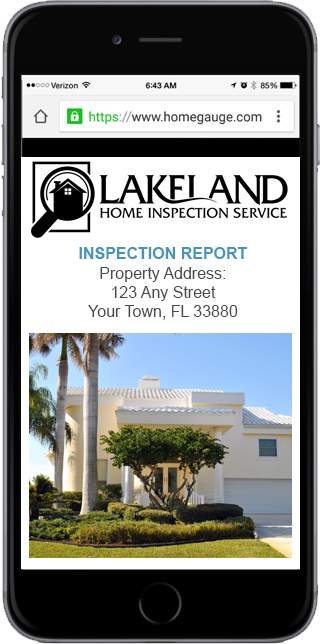 Mobile phone showing a Lakeland home inspection report online